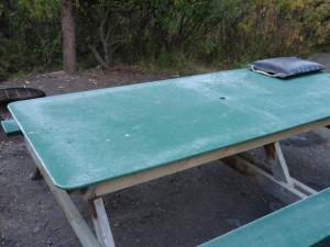 Wir übernachteten im Park, es war so kalt. Der Tisch war am nächsten Morgen mit einer dünnen Eisschicht überzogen.