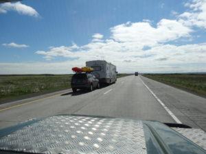 Wir fuhren auf dem Interstate 86 Richtung Idaho Falls. Die grossen Wohnmobile sind auch schon unterwegs.
