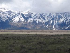 Die Tetons waren noch von Wolken bedeckt.